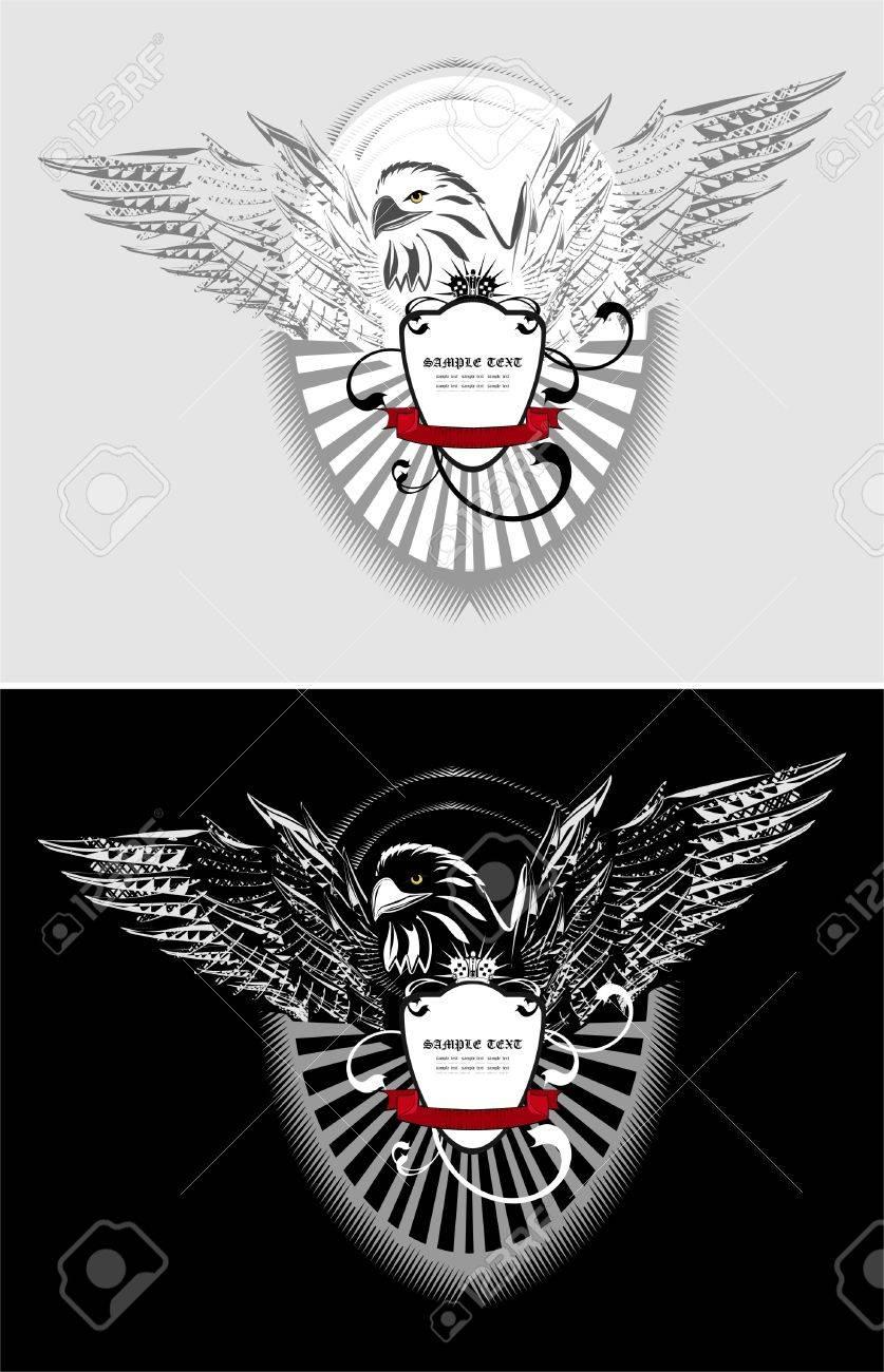 Marco De Arte Con águila, Escudo, Corona Y Cinta Ilustraciones ...