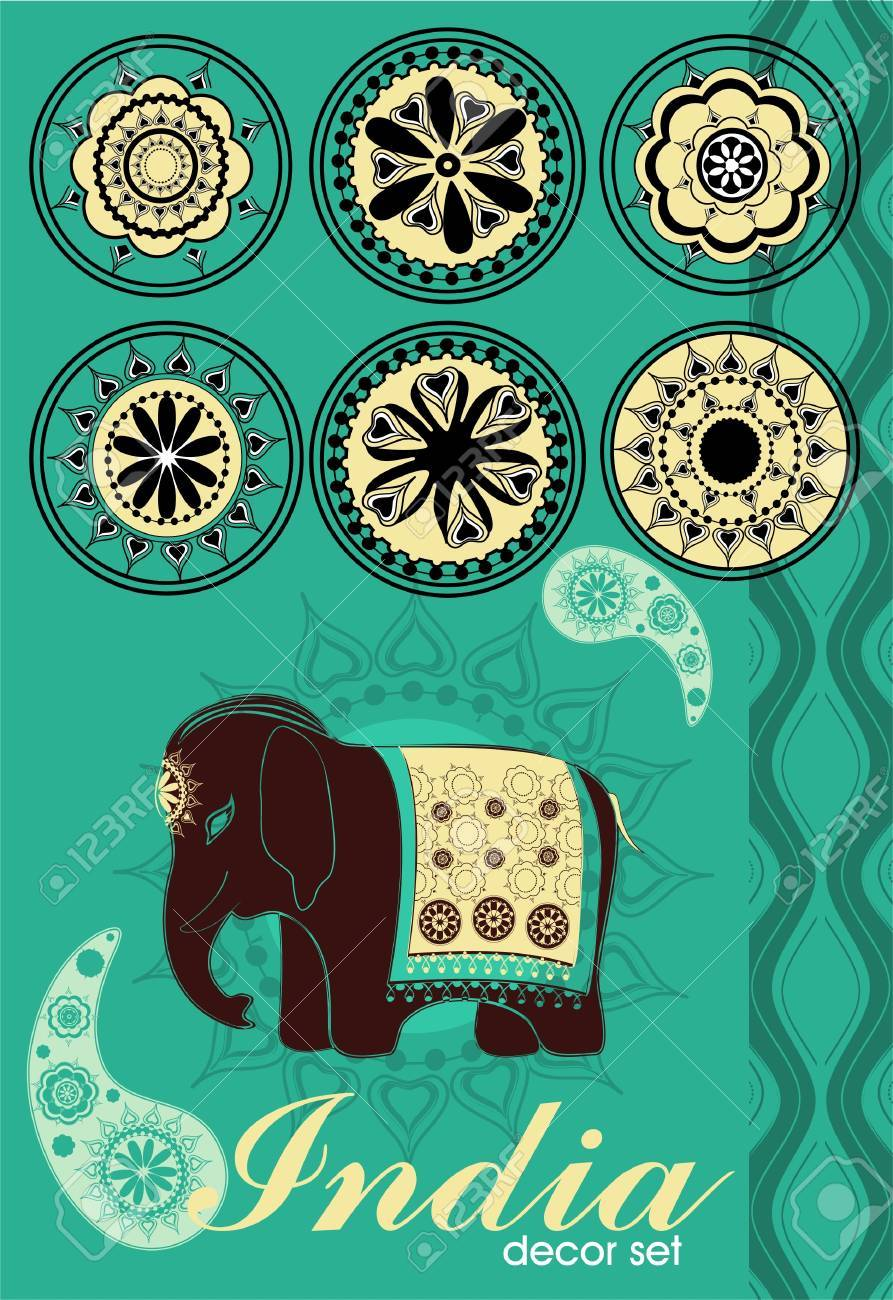 Decoration set in Indian style Stock Vector - 10043777