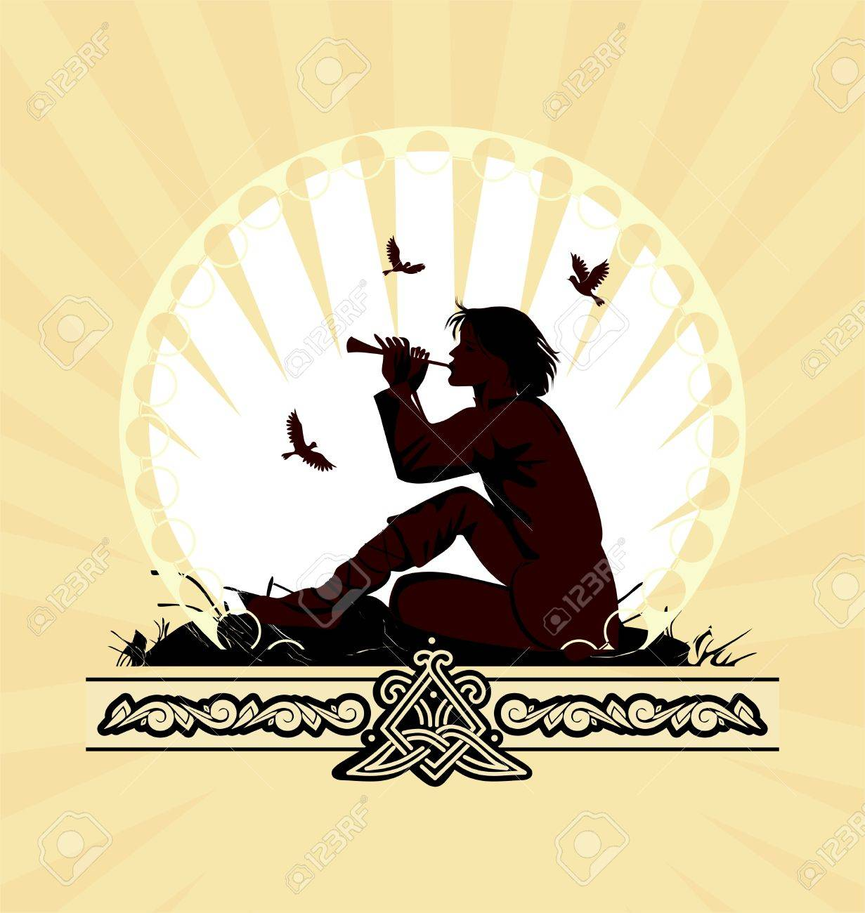 background with boy playing on panpipe Stock Vector - 10637489