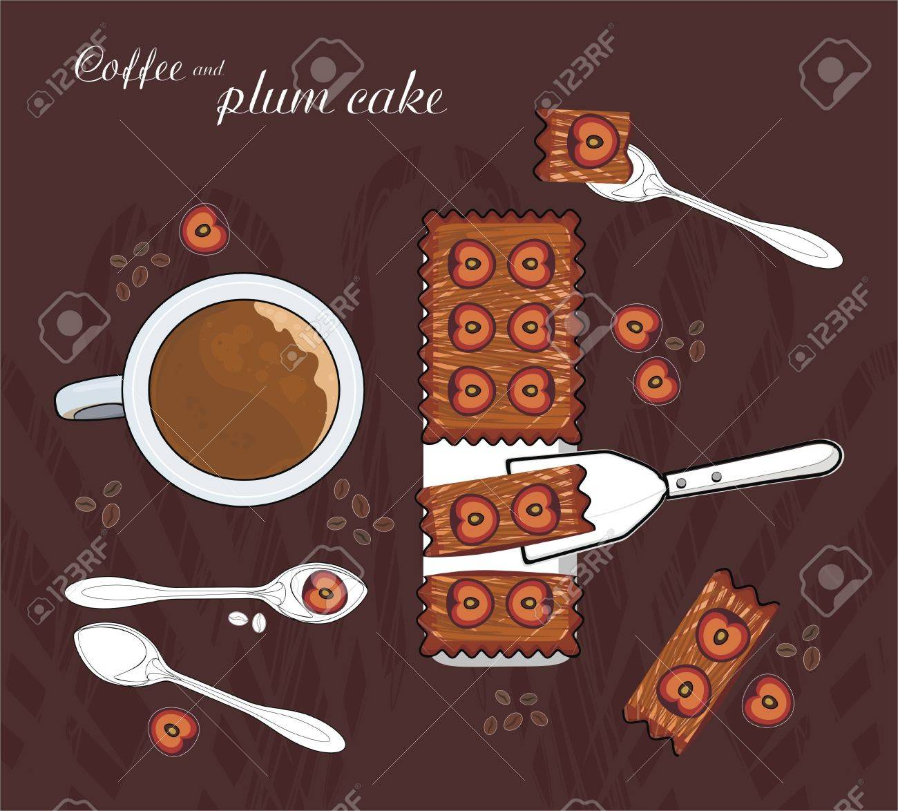 coffee with milk and plum cake Stock Vector - 11813175