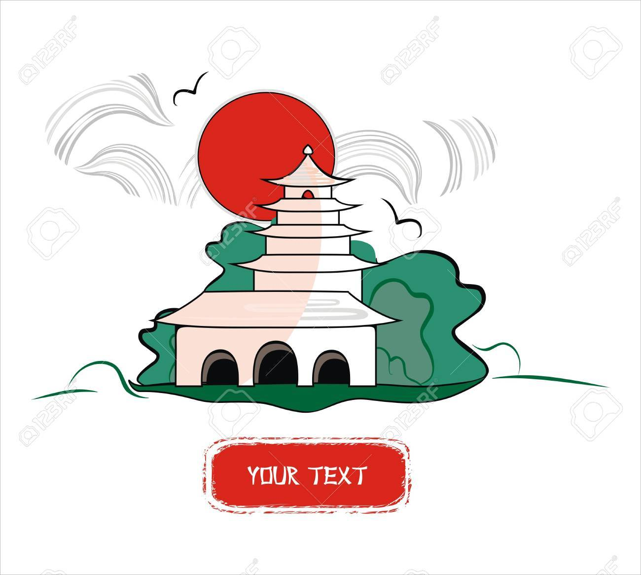 background with an asian monastery Stock Vector - 12986246