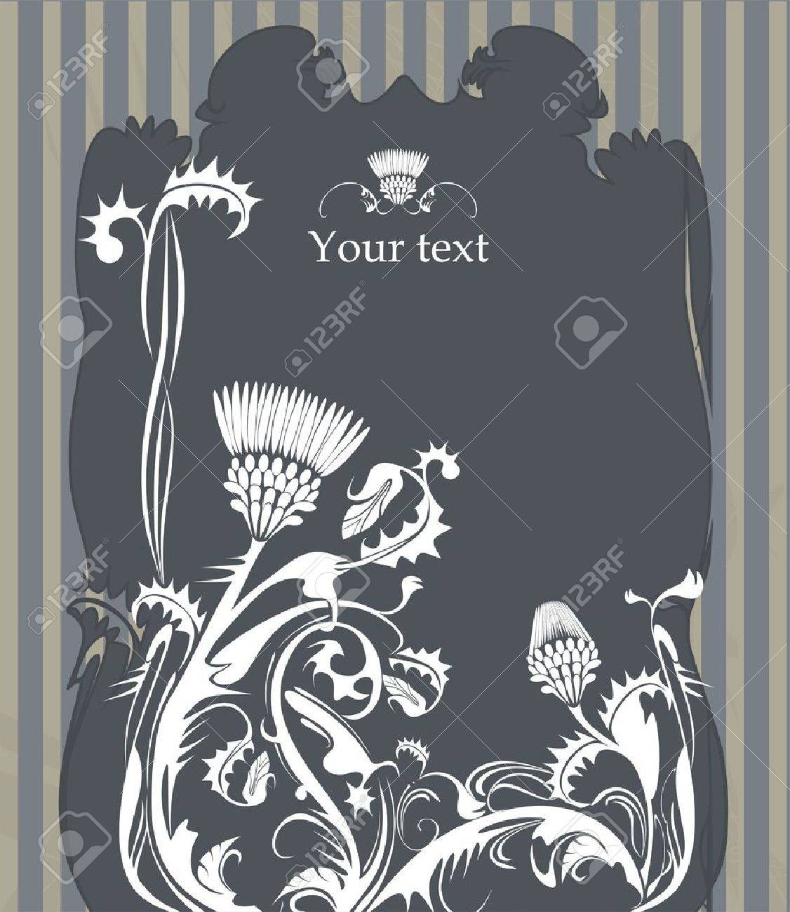vector frame decorated with thistle plant in vintage style - 14569143