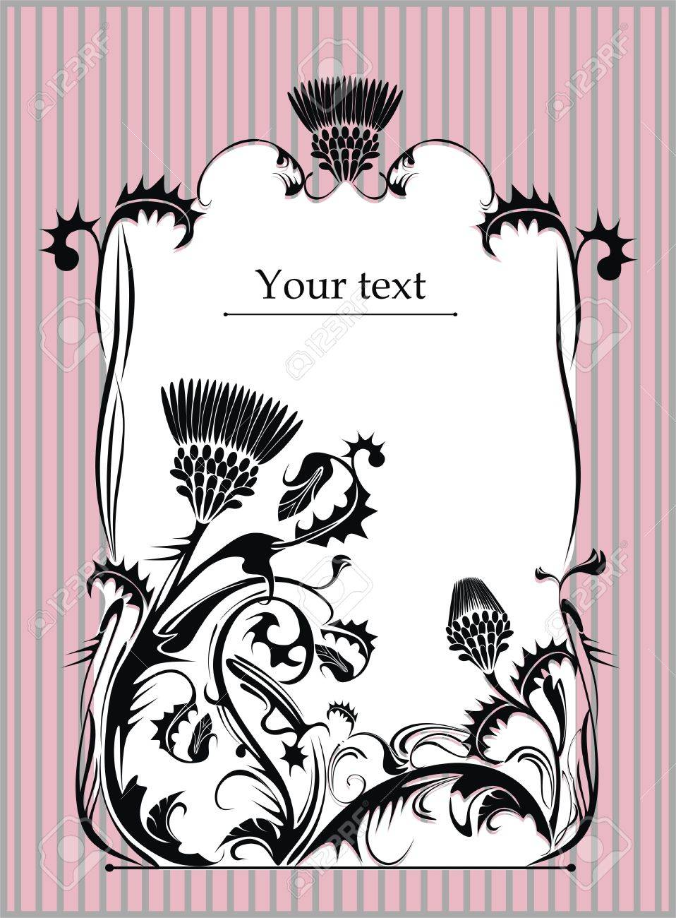 vector frame decorated with thistle plant in vintage style - 14569142