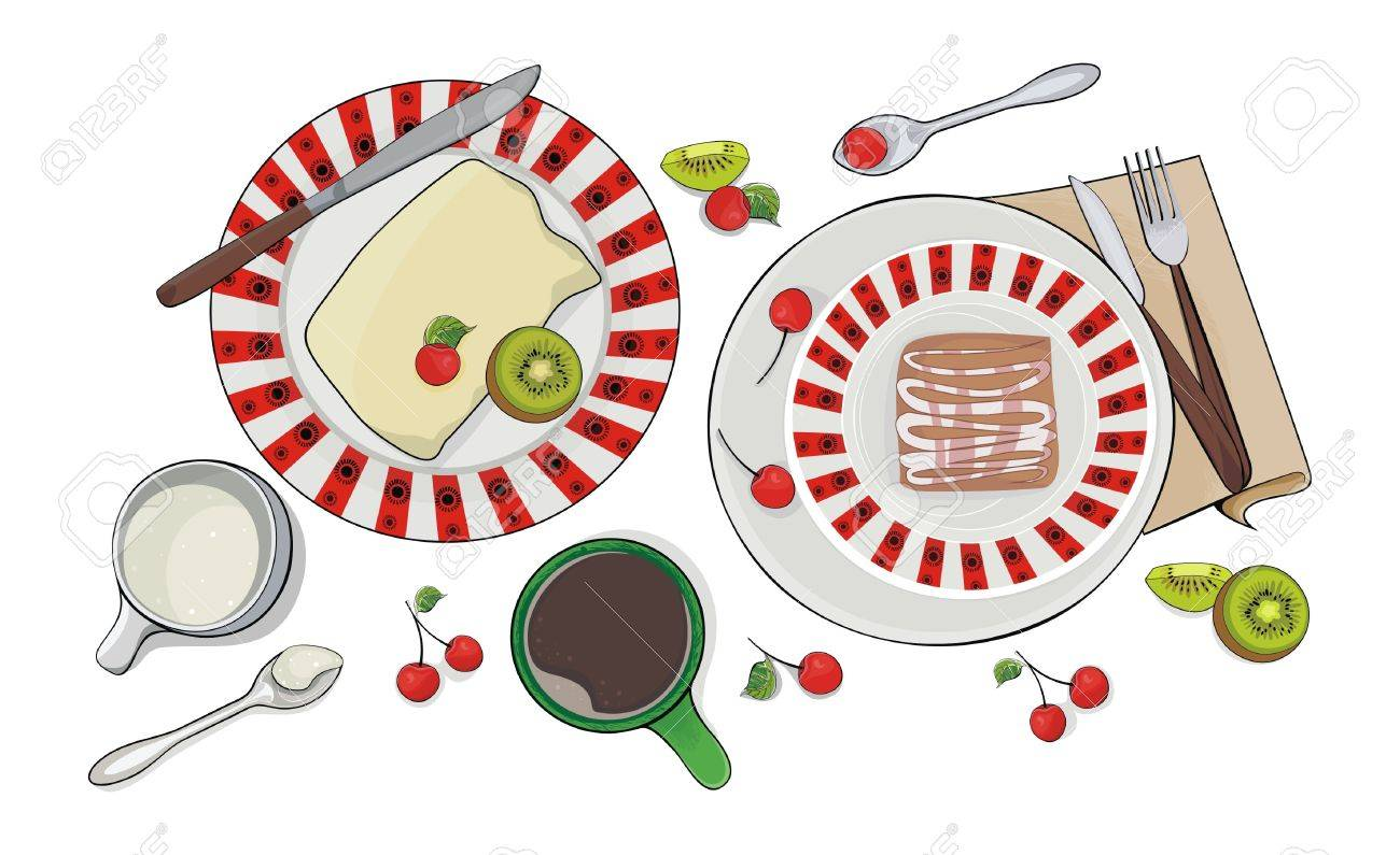 breakfast set - sweet pie, fruits and coffee Stock Vector - 15477936