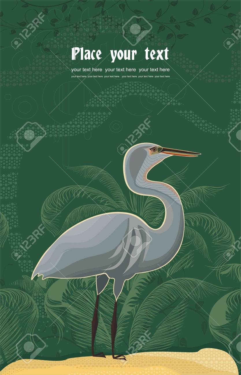 background with heron and plant pattern Stock Vector - 16920511