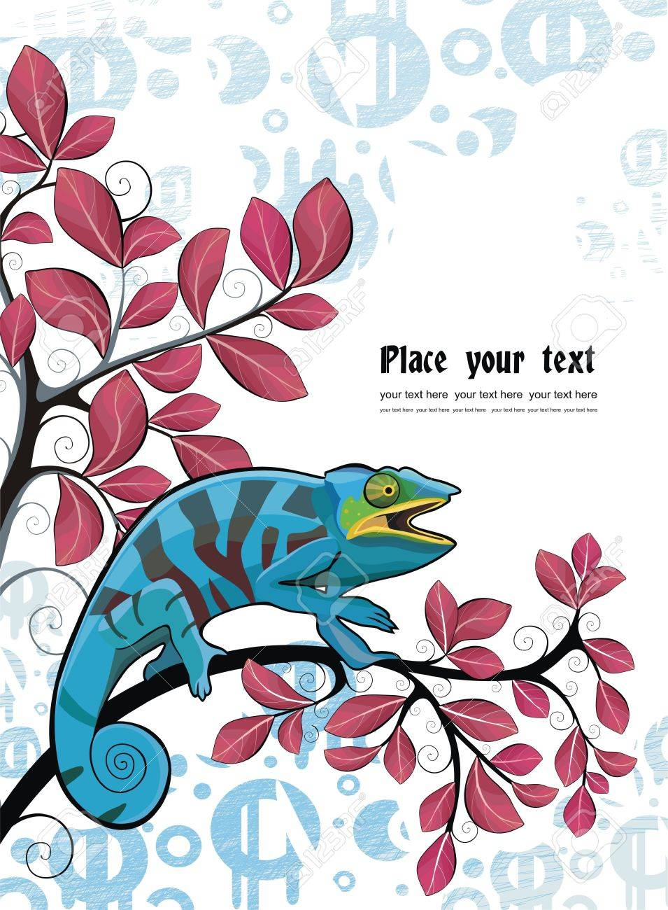 Background with chameleon Stock Vector - 17082120