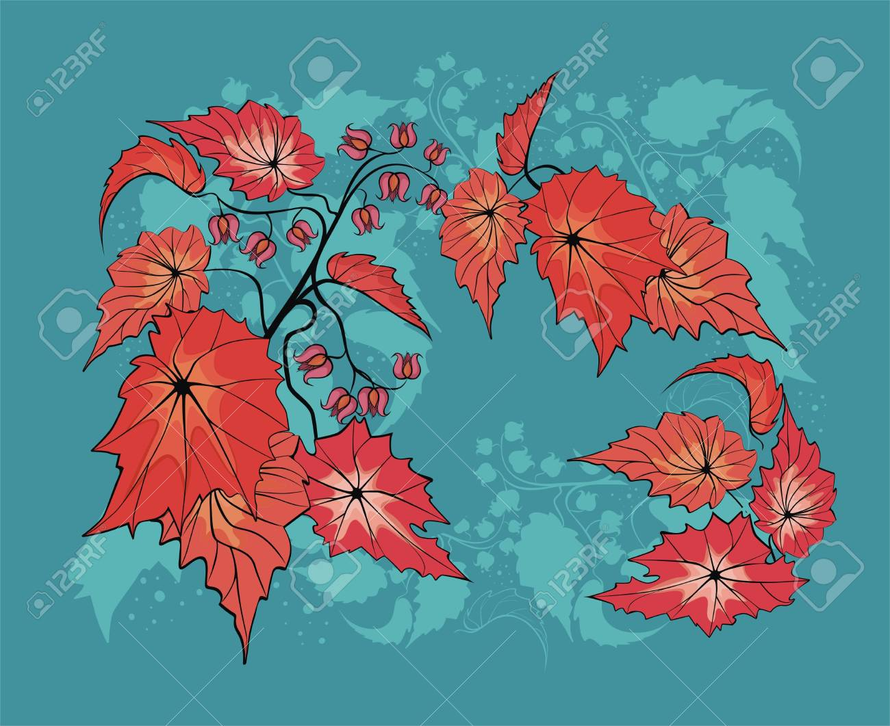 Flower background with begonia plant Stock Vector - 21263932