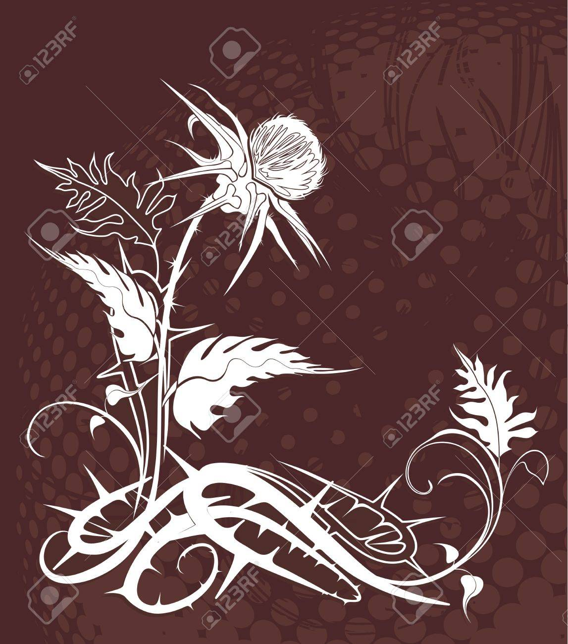 vector background decorated with thistle plant in grunge style - 24029059