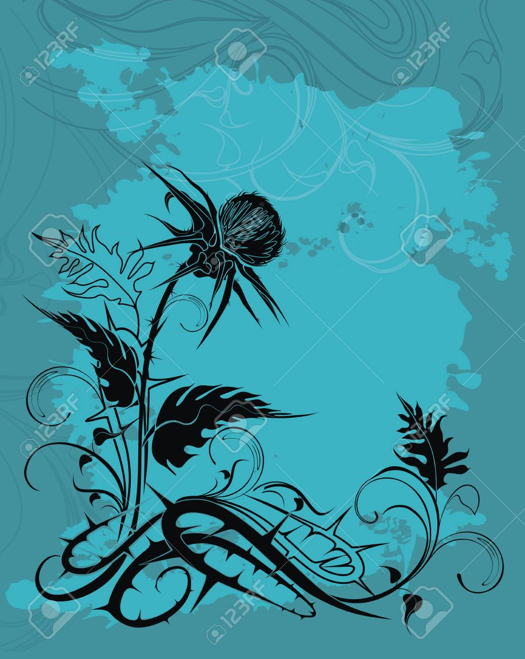 vector background decorated with thistle plant in grunge style - 24184413