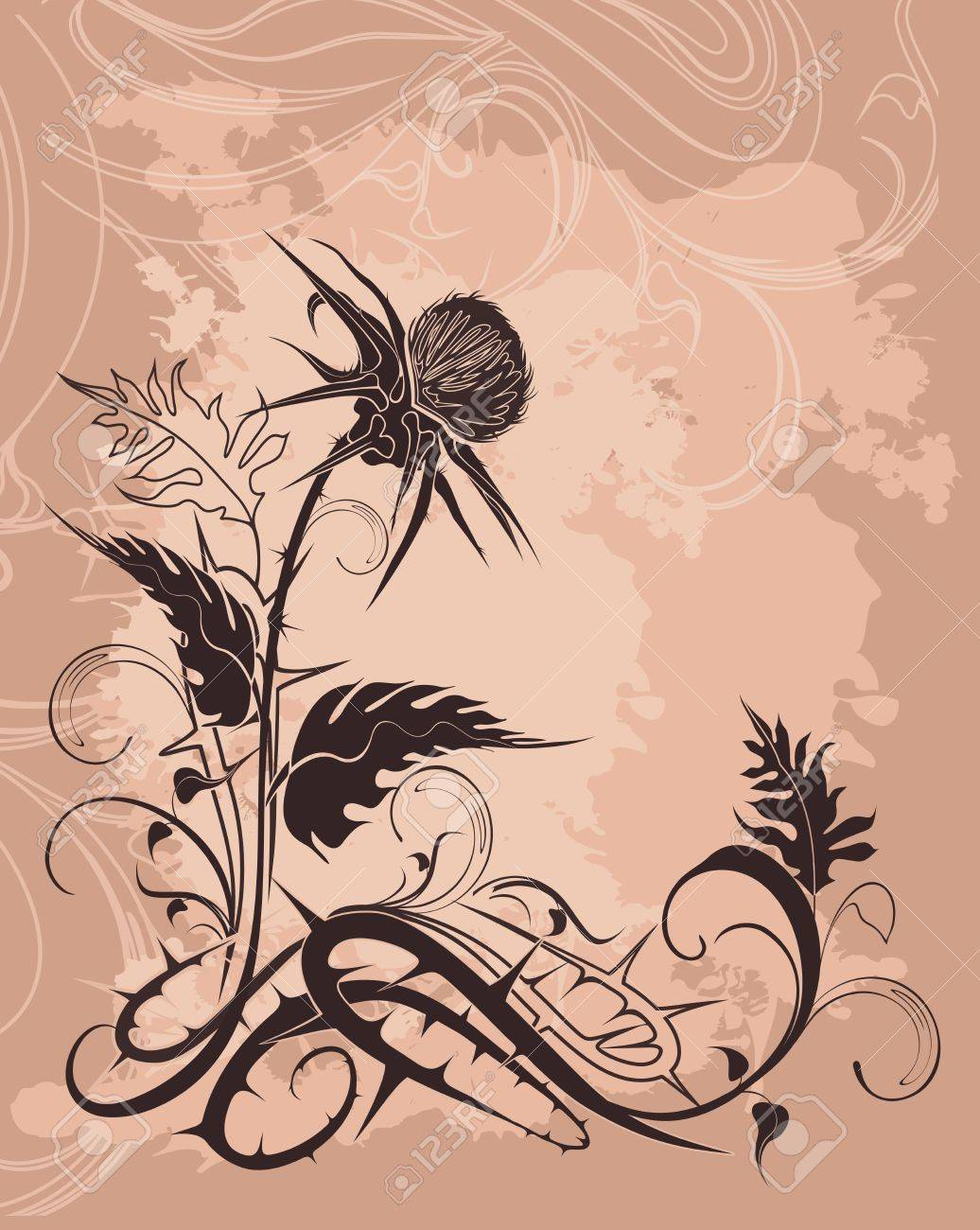 vector background decorated with thistle plant in grunge style - 24184416