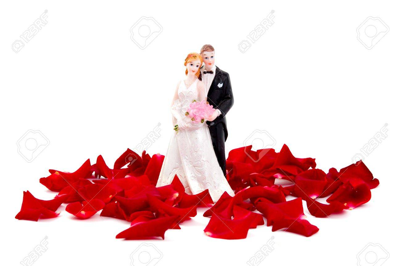 Bride and groom of rose petals on white background Stock Photo - 10289656