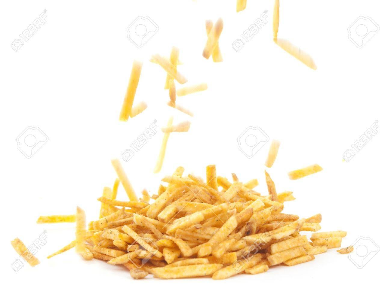 Fried potato sticks on a white background Stock Photo - 10289643
