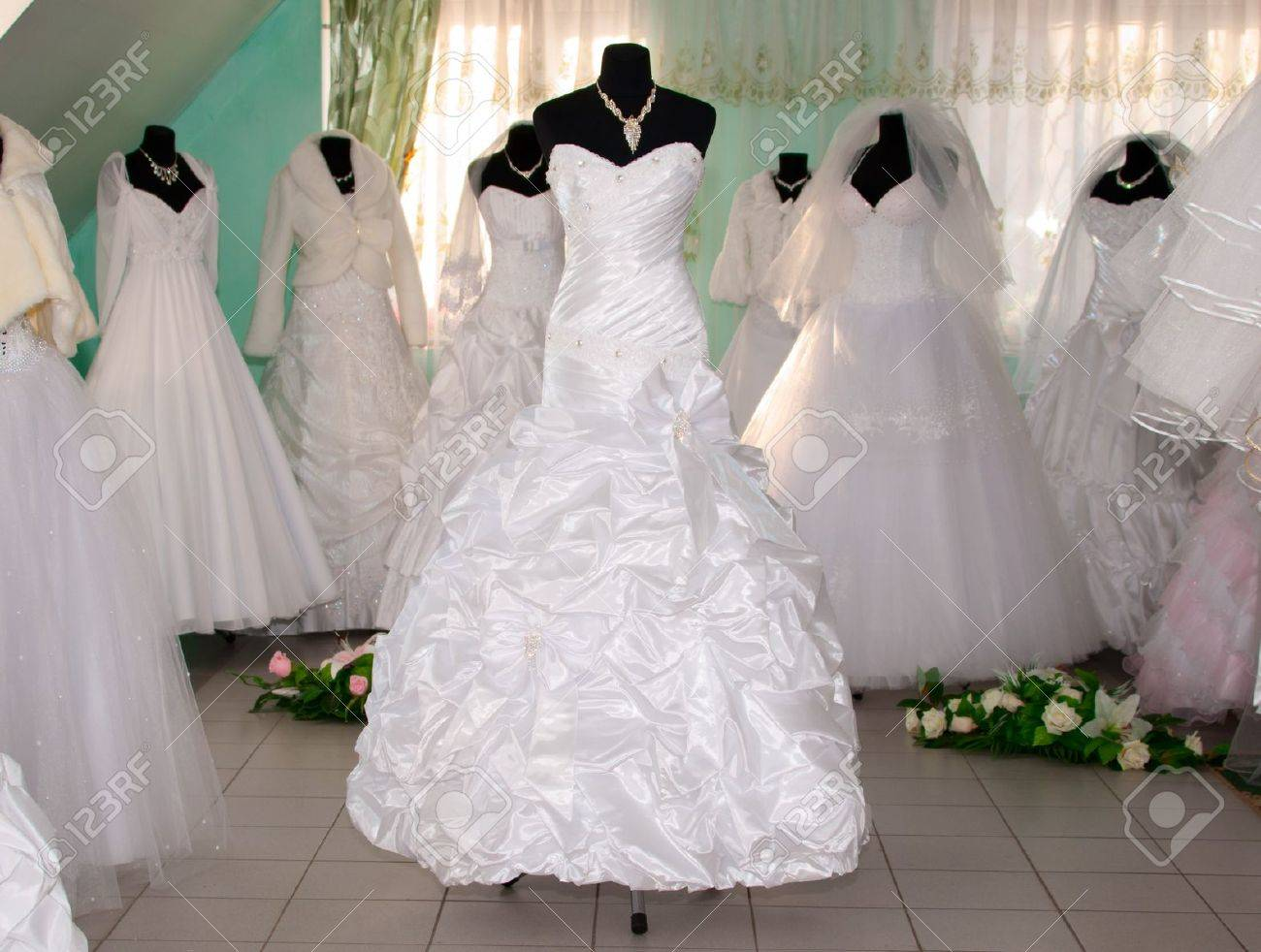 Some Wedding Dress\'s In A Dress Shop Stock Photo, Picture And ...