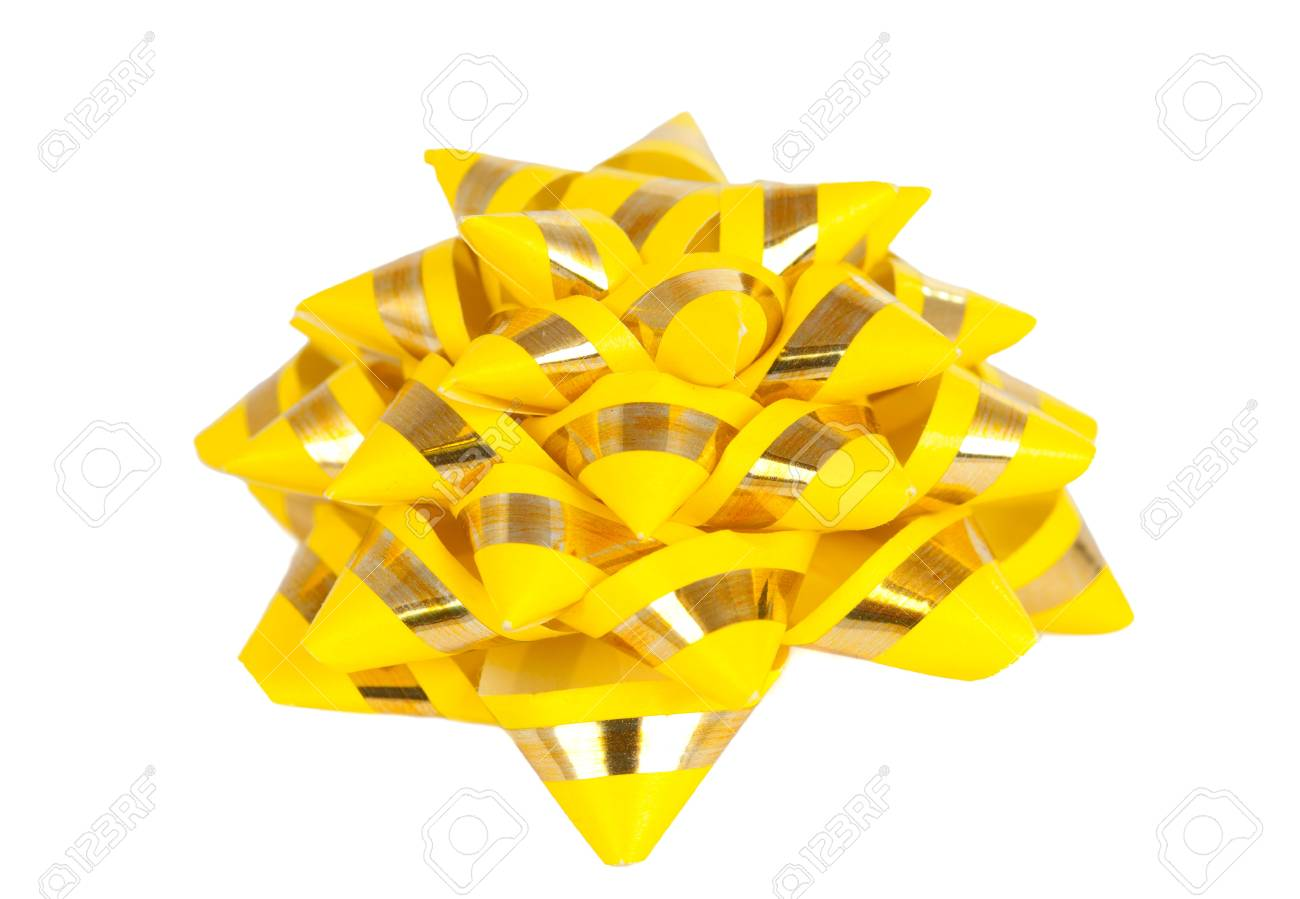 yellow gift bow isolated on white background Stock Photo - 13013812
