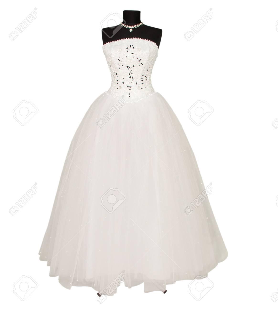 Hochzeitskleid Auf Weißem Hintergrund Lizenzfreie Fotos, Bilder Und ...