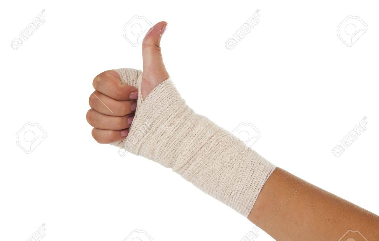 Hand Tied Elastic Bandage On A White Background Stock Photo