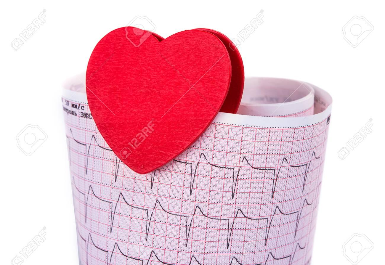 Immagini Stock Elettrocardiogramma Con Un Cuore Su Uno Sfondo