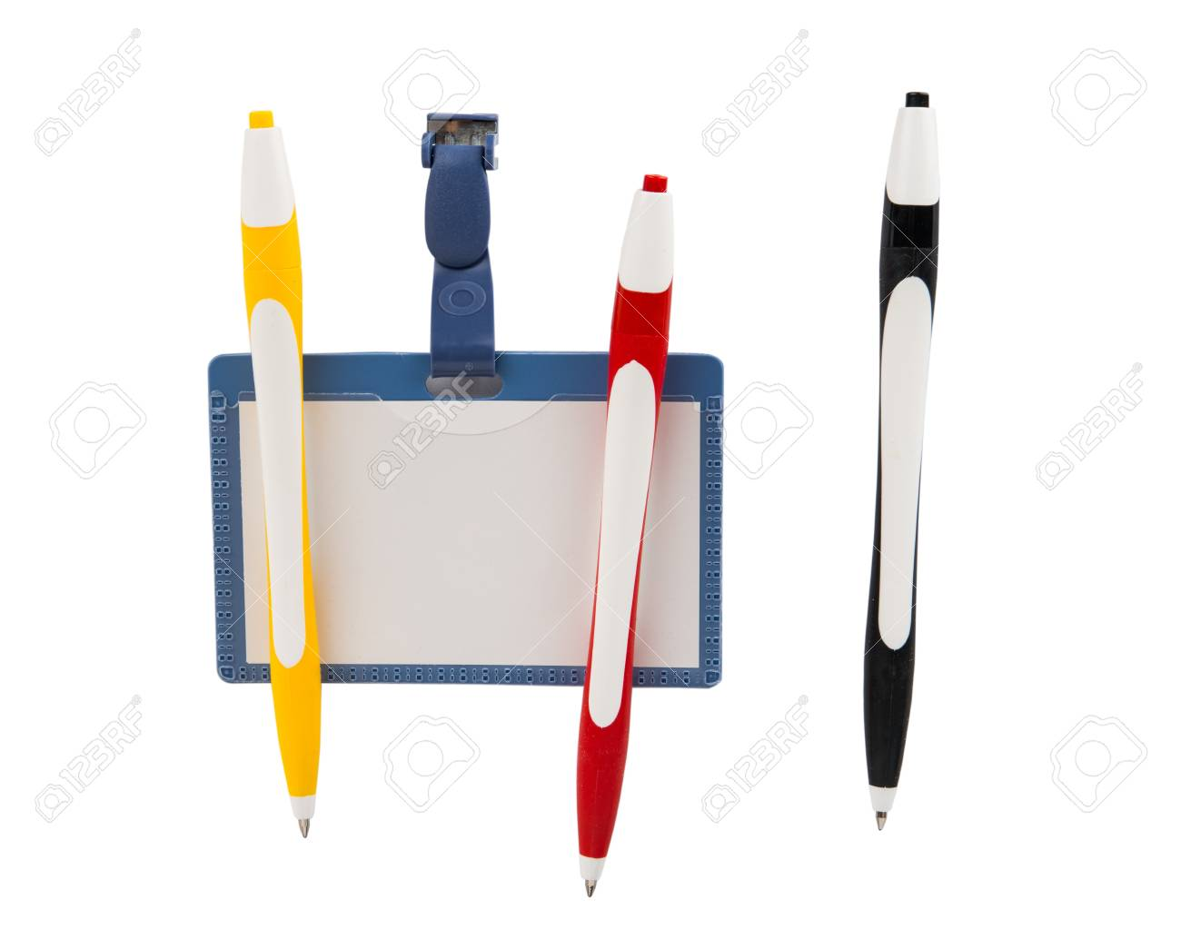 blank id card badge and pen on a white background stock photo
