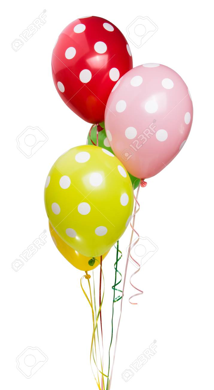 colored balloon isolated on white background banco de imagens
