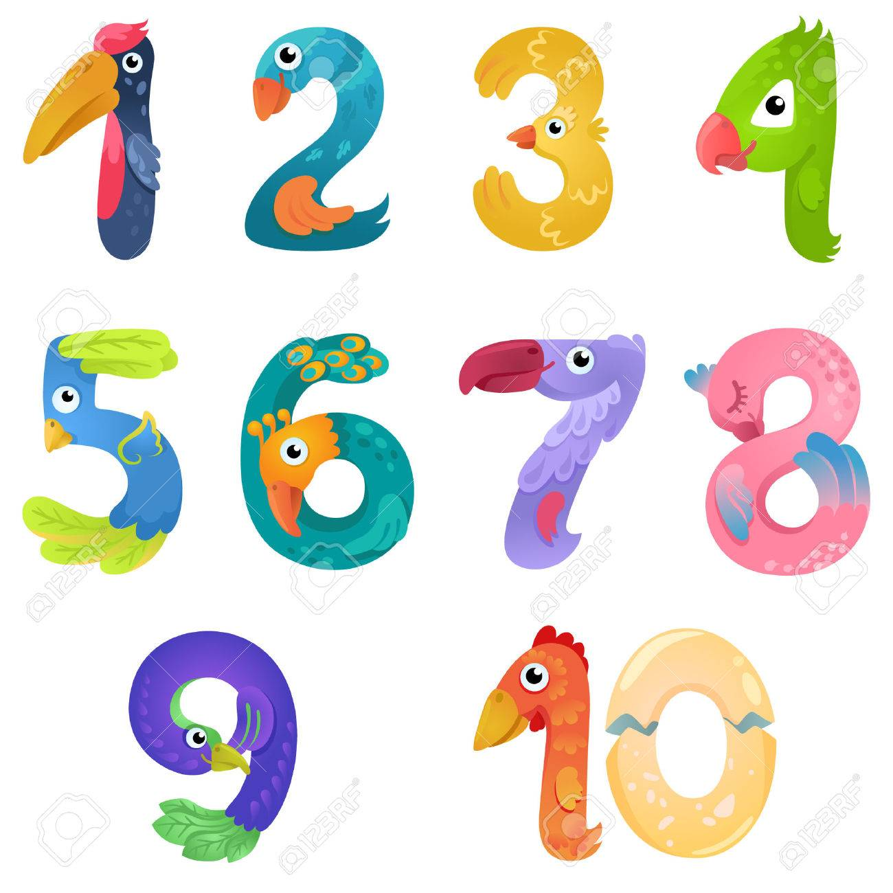 Numbers like birds in fairy style - 55816873