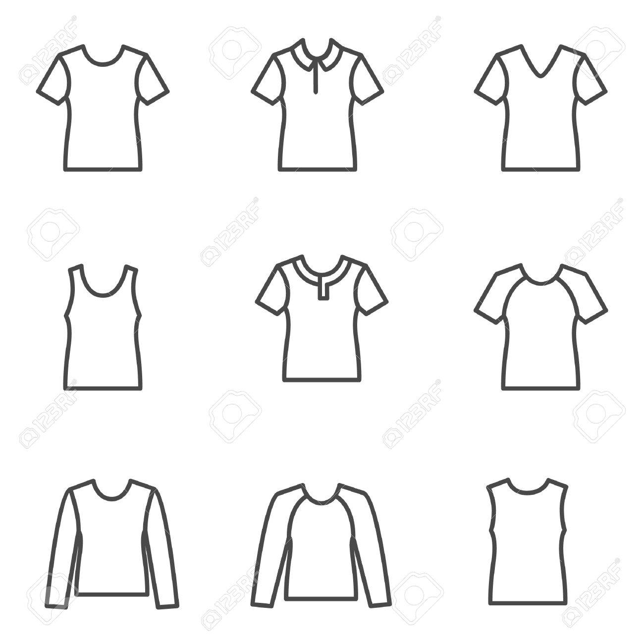 Different Types Of Man S T Shirts As Line Icons Royalty Free