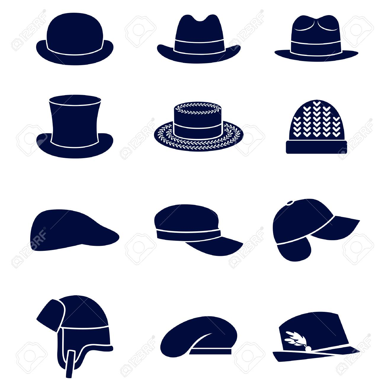 Different types of men hats Stock Vector - 67940922 e3e96e11af9