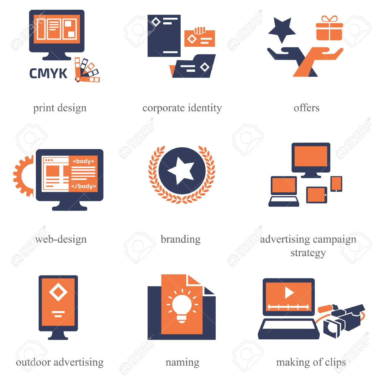 Icons set for Advertisement Company - 70958120
