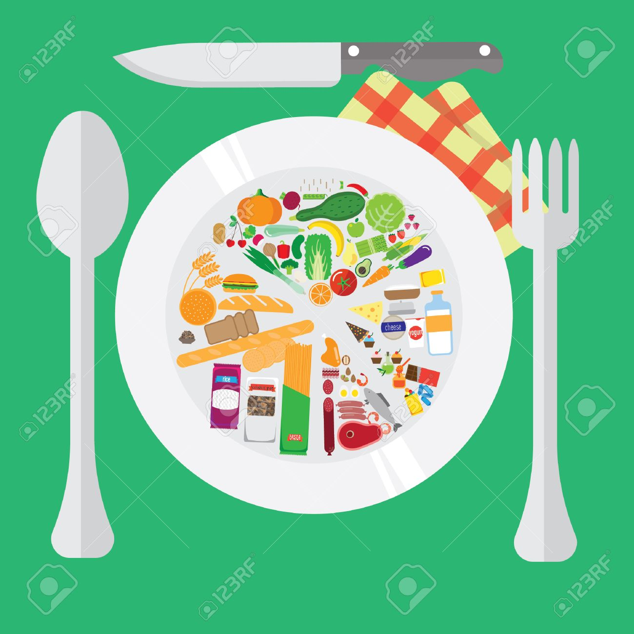 healthy food  chart on the plate  home cooking