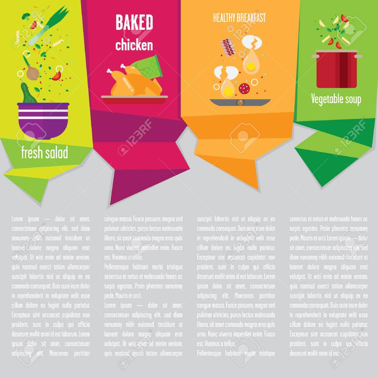 Diseño De Página De La Plantilla Con La Cocina Plana. Ilustraciones ...