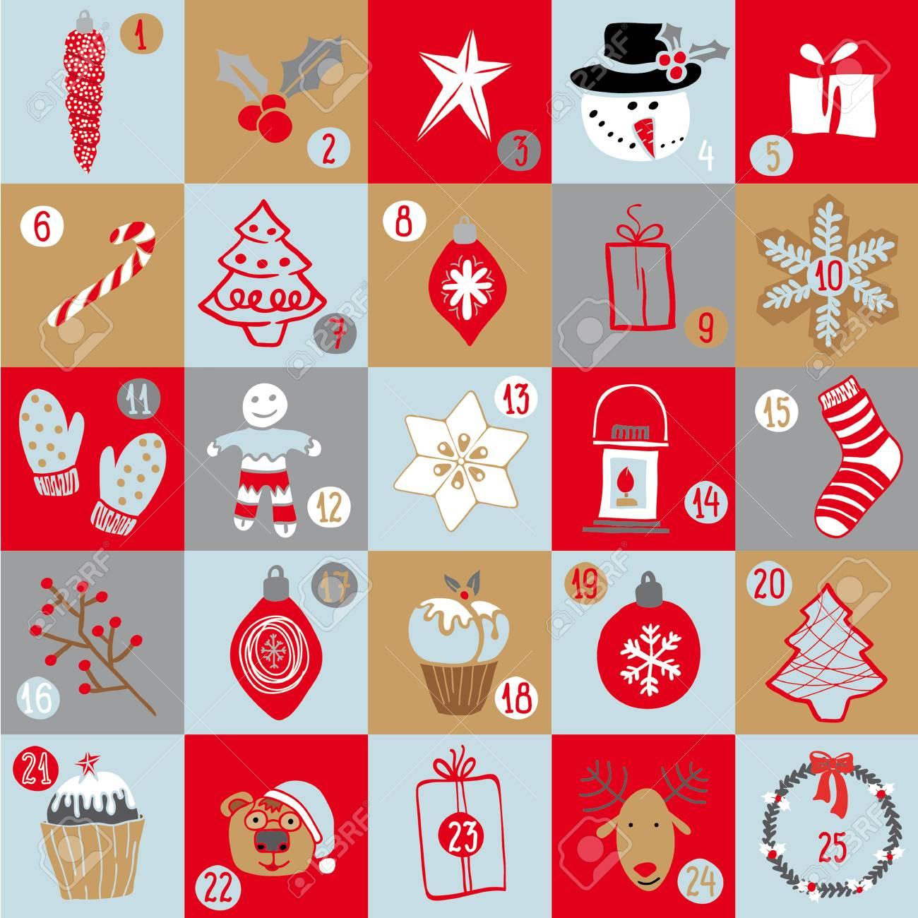 Christmas Advent Calendar Bright Holiday Countdown In Cartoon