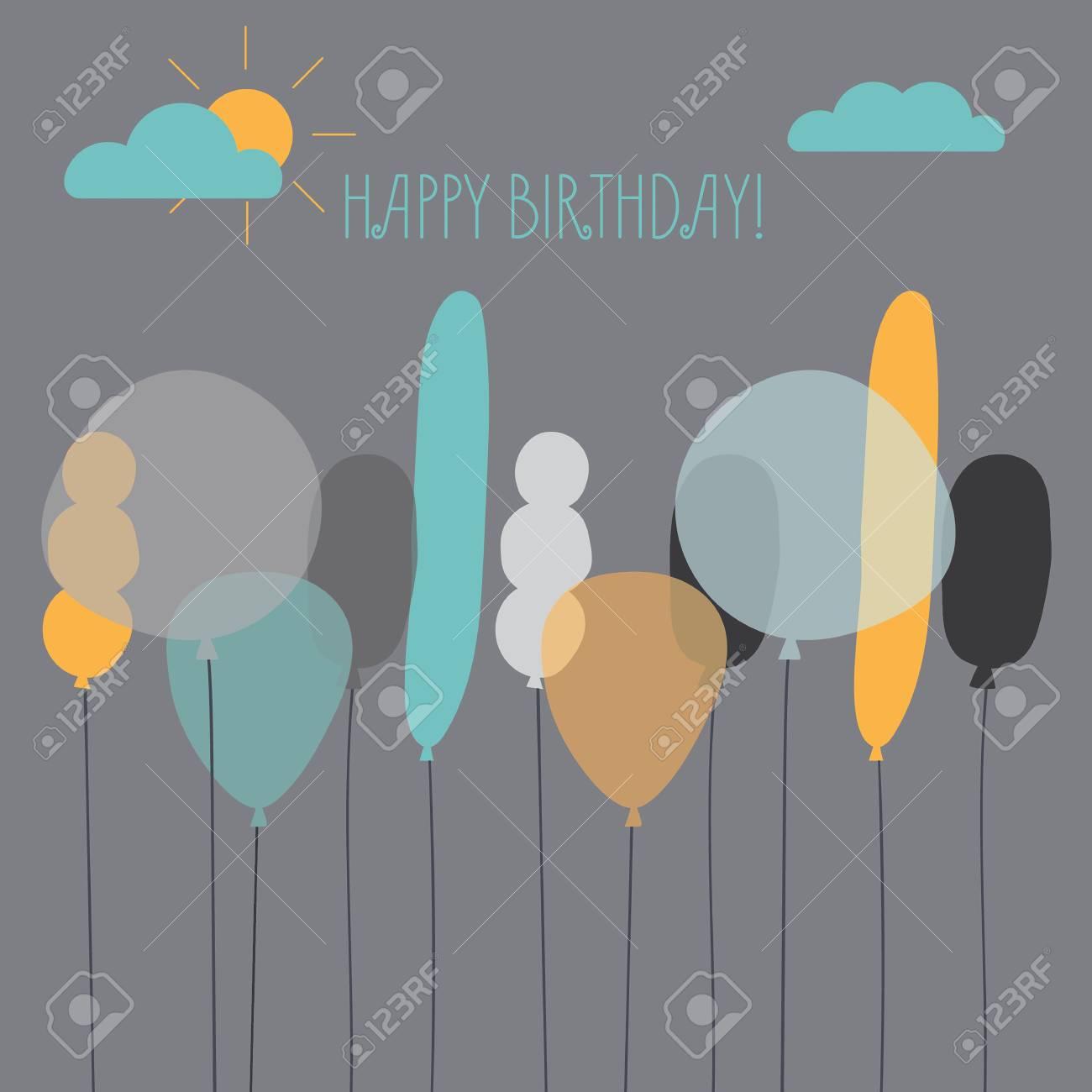 Karte Mit Ballons Für Einen Geburtstag. Moderne Geburtstagskarte