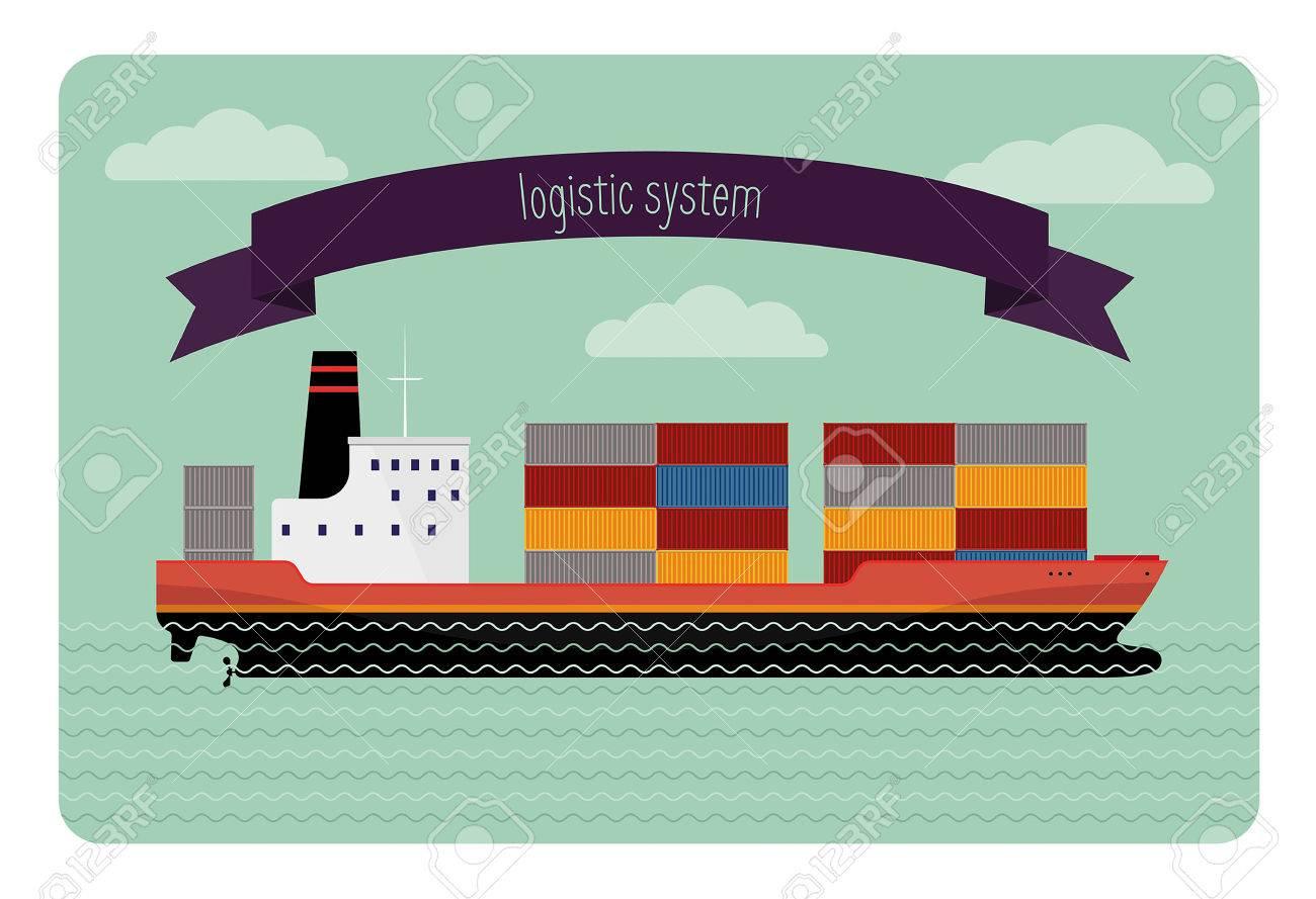 Conteneur-citernes. L\'illustration plate, un navire de transport moderne  chargé de conteneurs. Il contient du ruban adhésif avec une inscription.