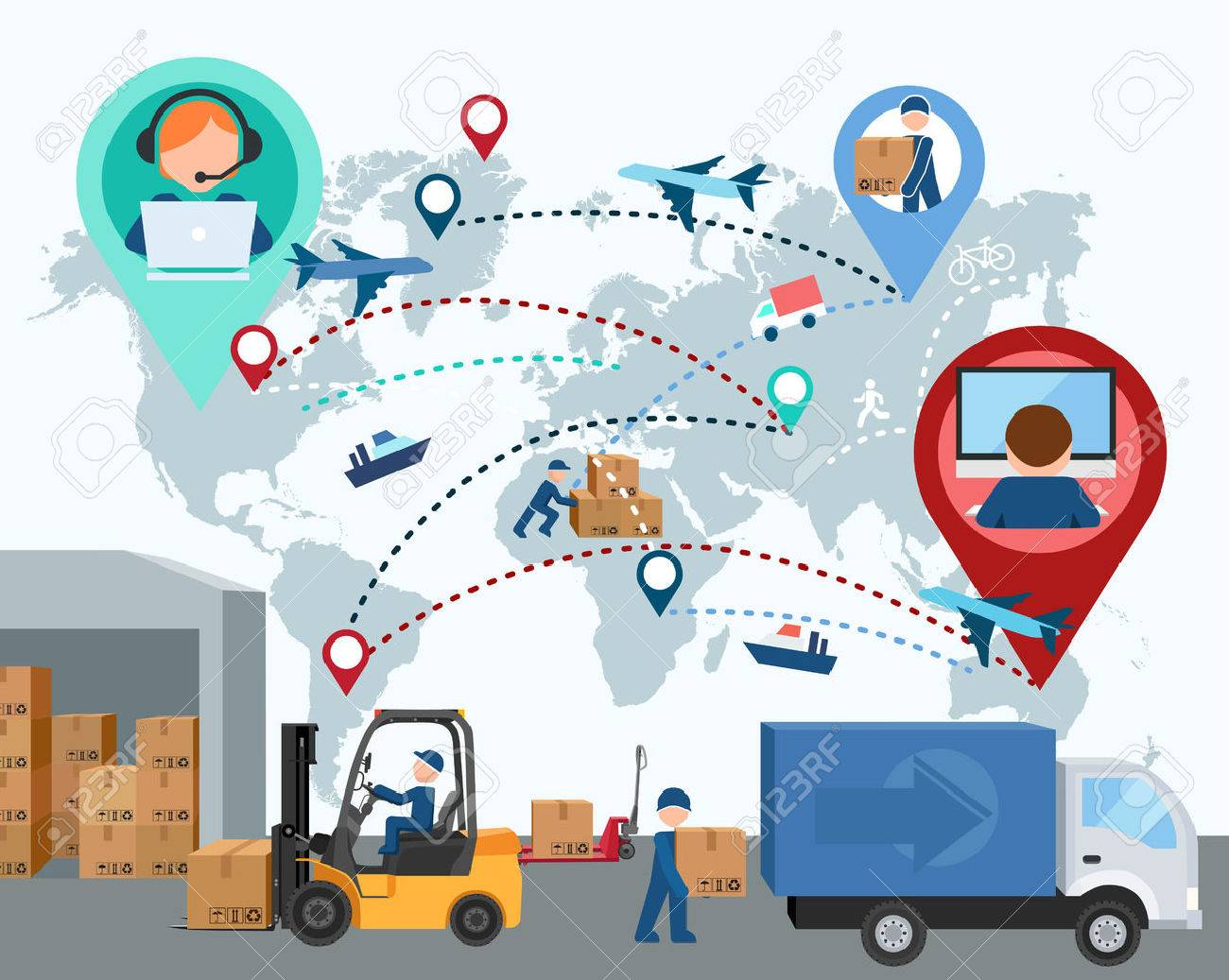 Production, transportation, delivery of cargo. People. Infographics. Forklift. Map. illustration - 50549795