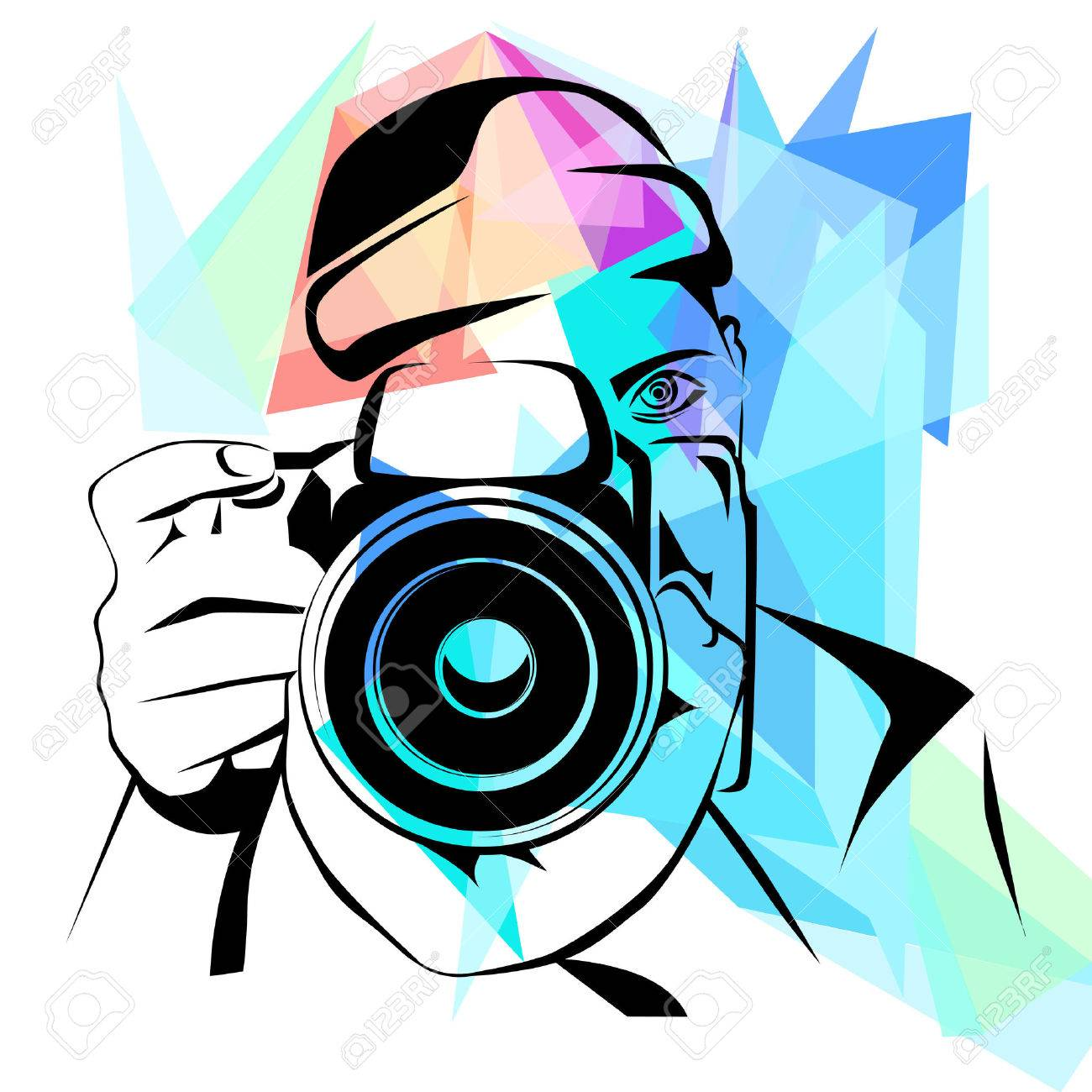 Photographer, fashion colorful background, vector illustration - 51359418