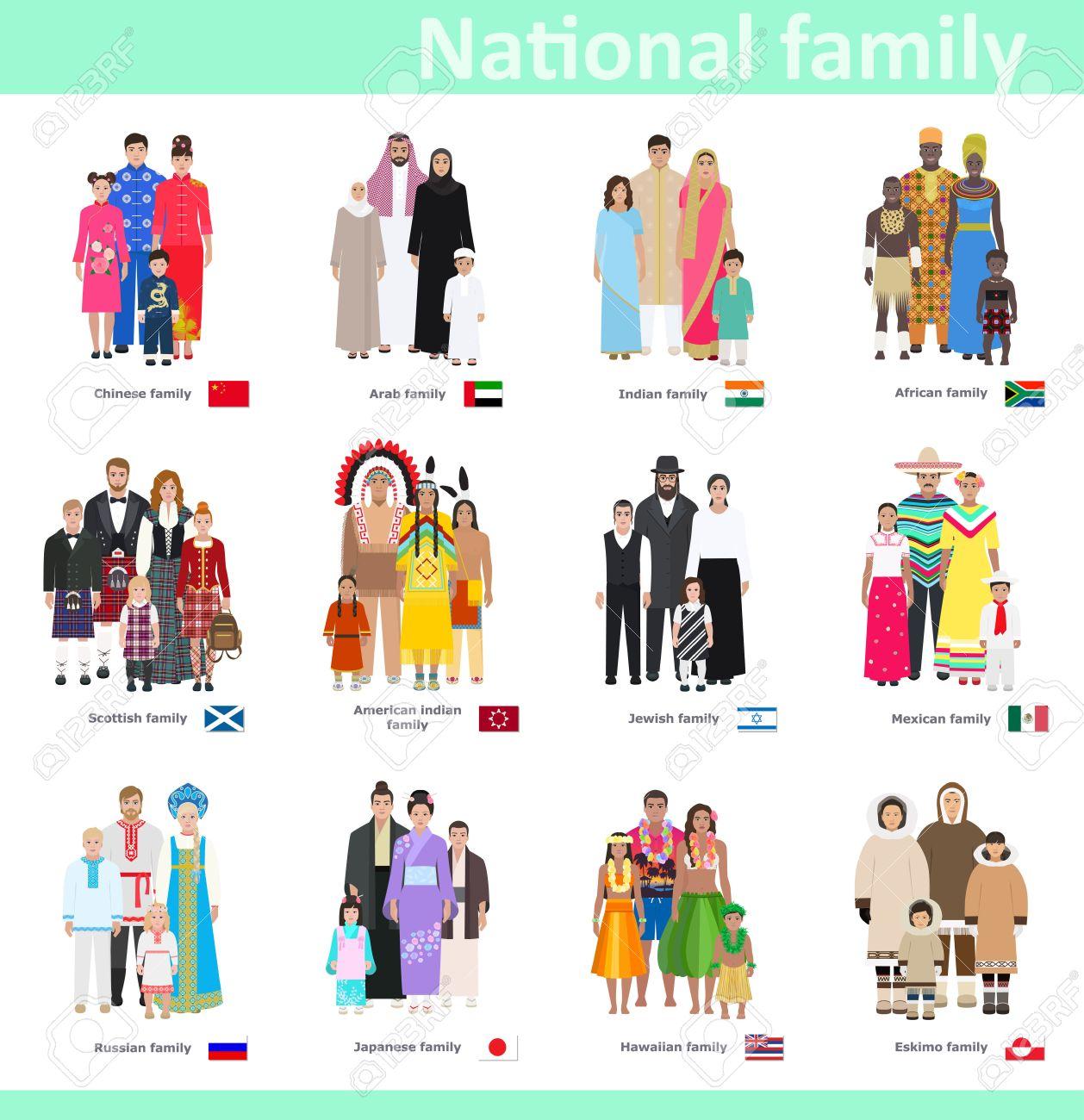 さまざまな国民族衣装で家族ベクトル イラストのイラスト素材ベクタ