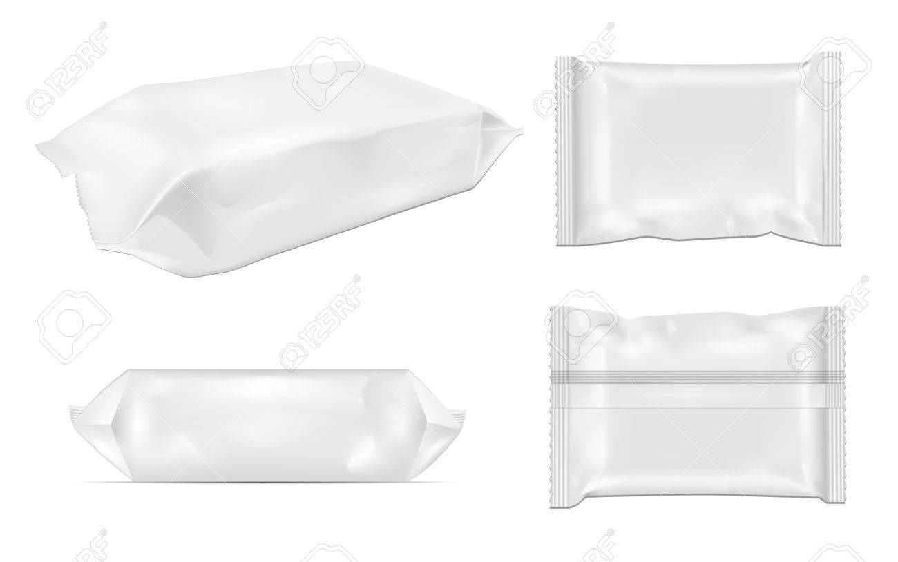 White blank foil food snack pack for chips, candy and other products. Wet wipes packaging. - 85571596