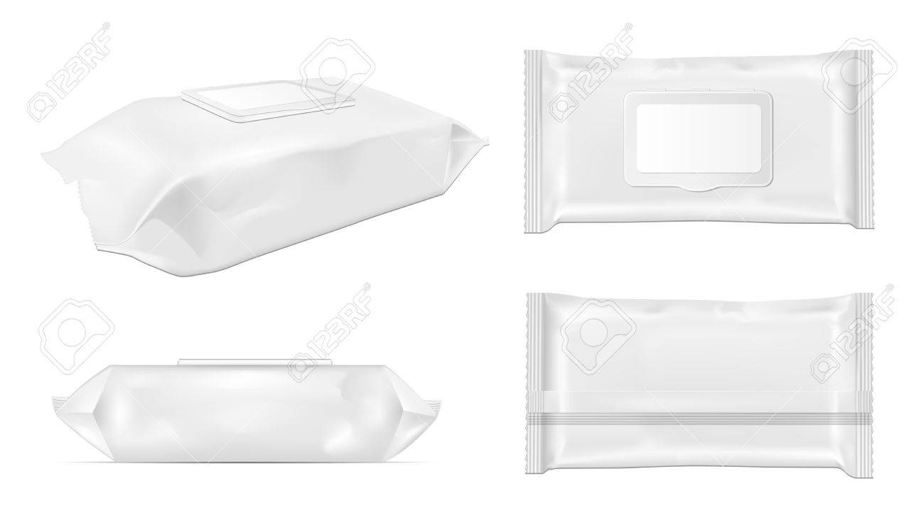 White wet wipes package with flap. - 85617757