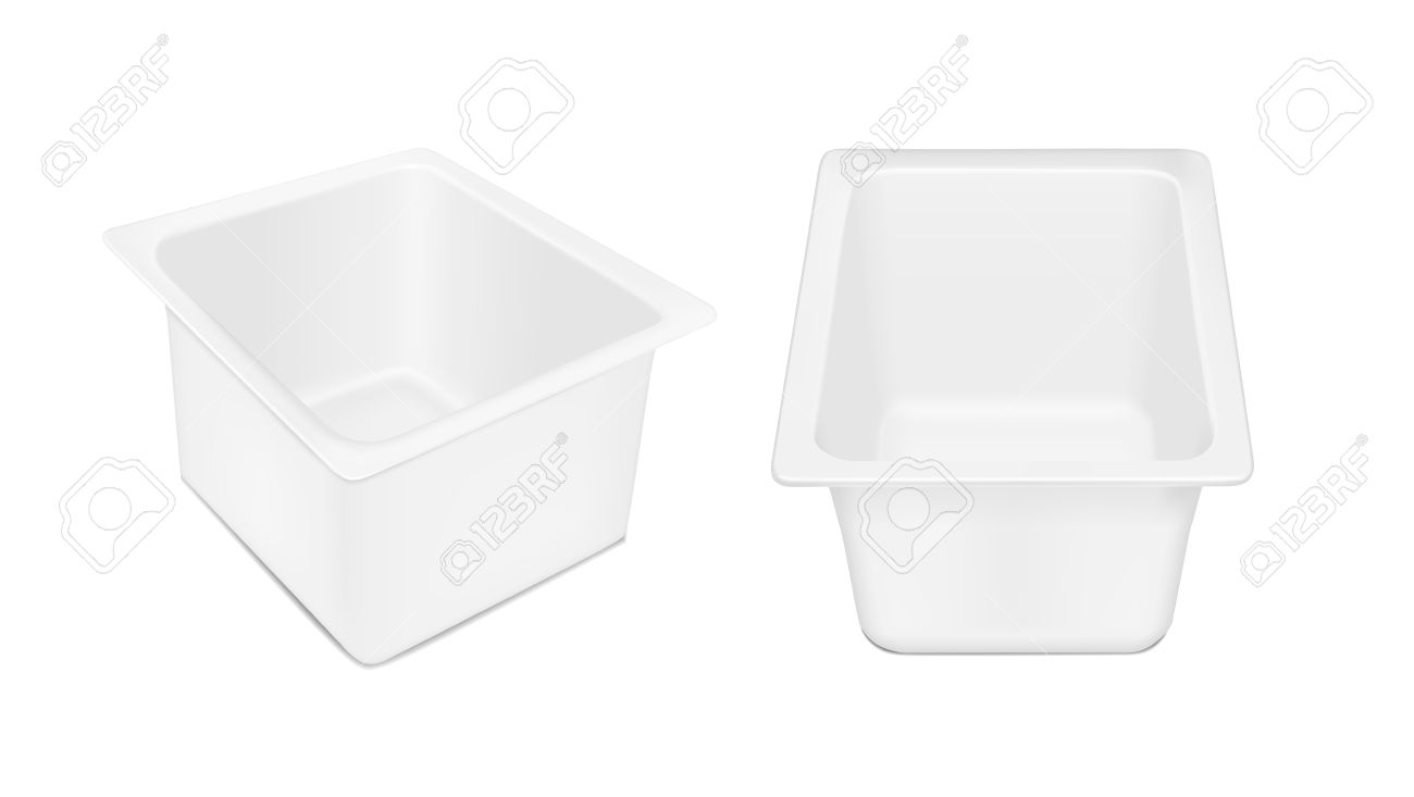 White Empty Plastic Container For Yogurt Packaging For Cheese
