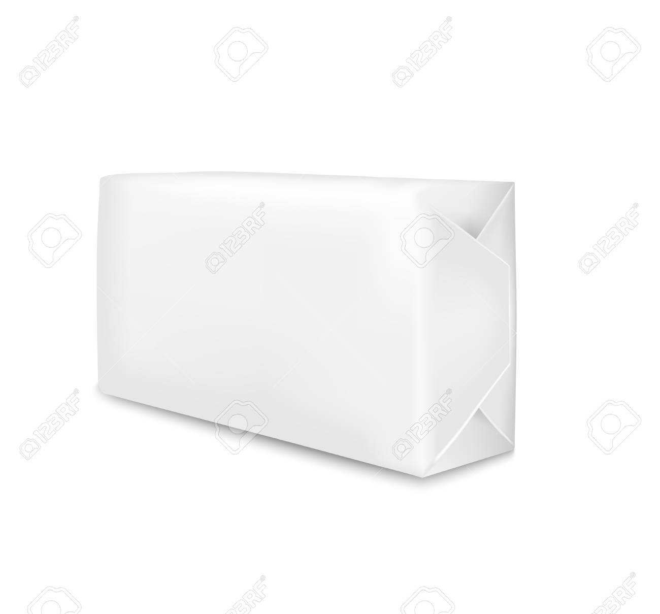 White paper packaging isolated on white background. Sachet for soap, coffee, spices, sweets, cookies and flour. - 99992780