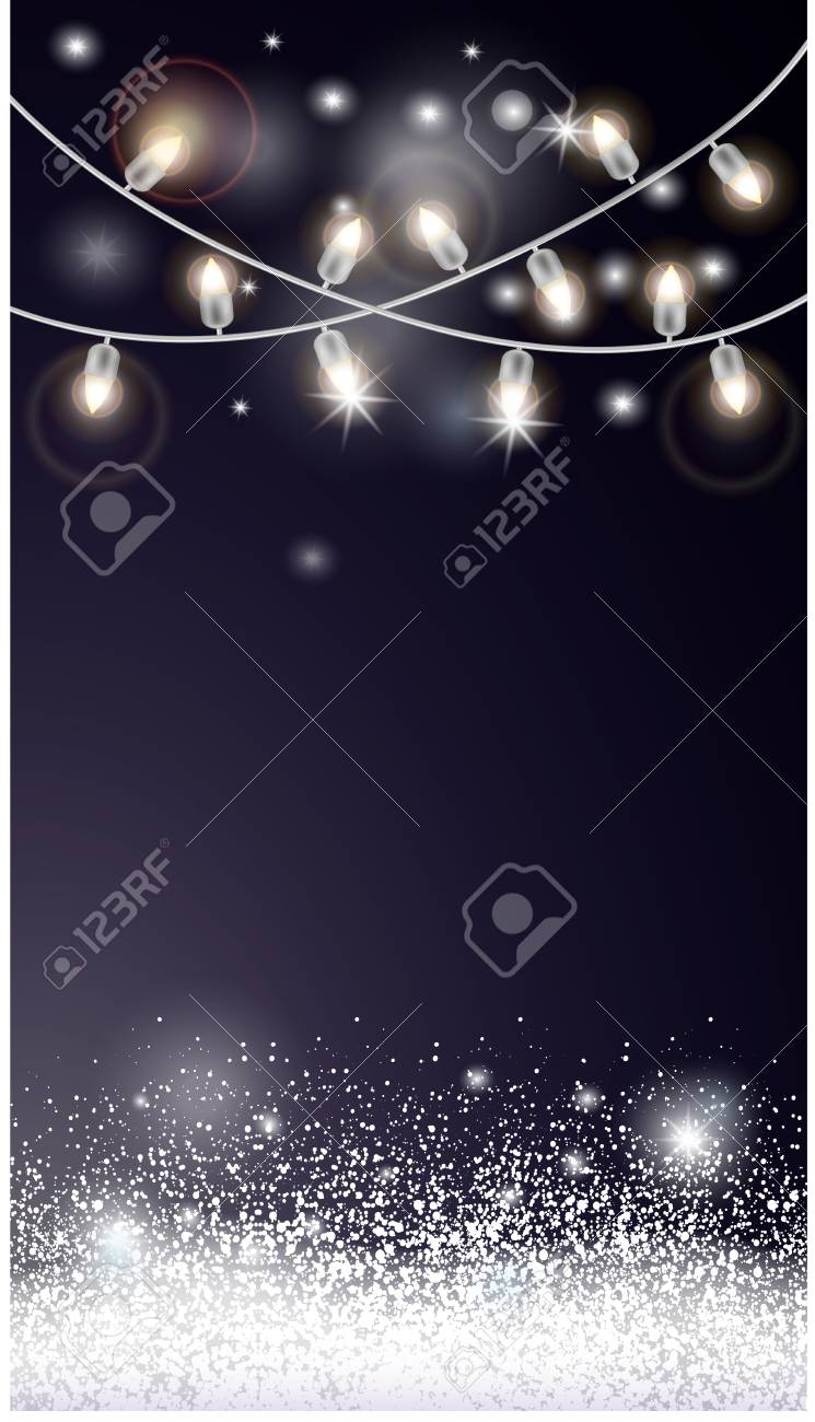 Christmas card with snow and electric garland. - 110020992