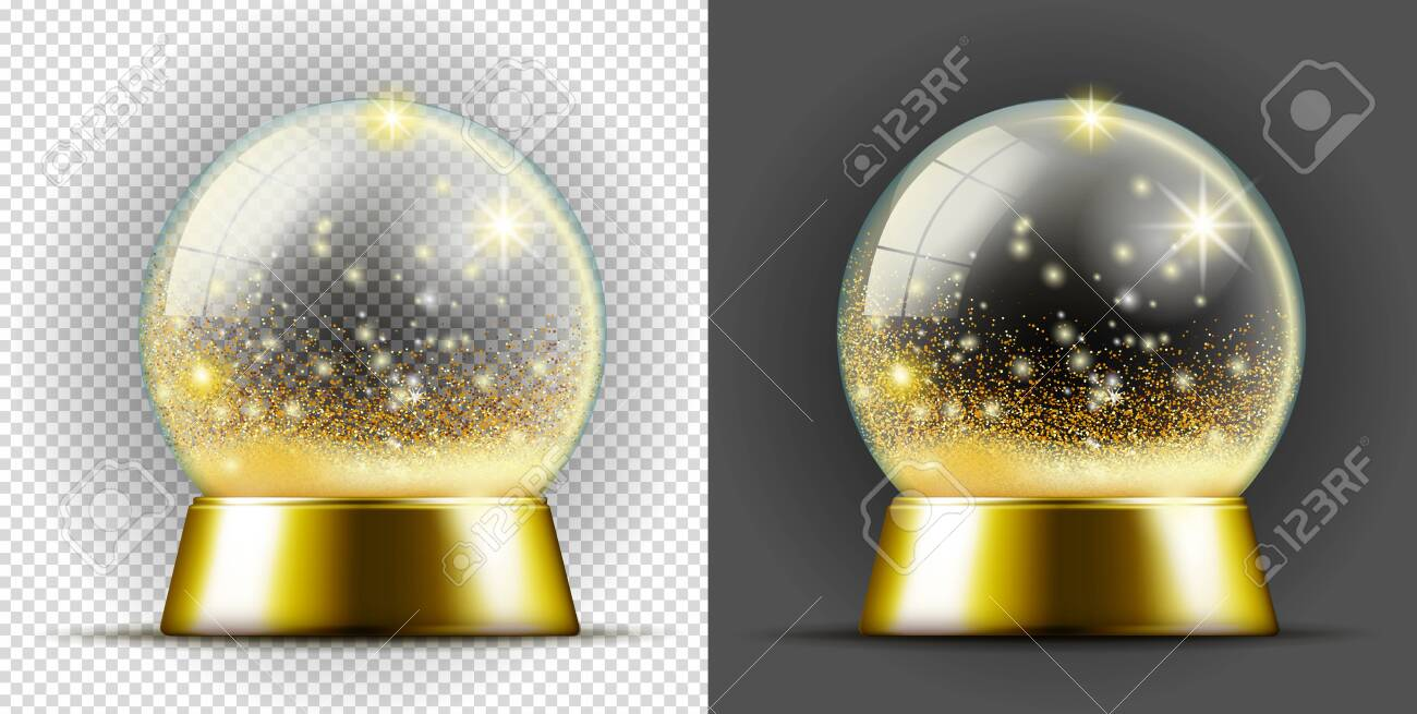 Realistic gold transarent snow ball. - 127959713