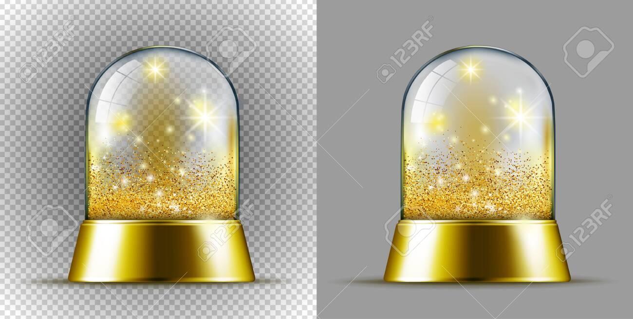Realistic transarent gold snow ball. - 127959716