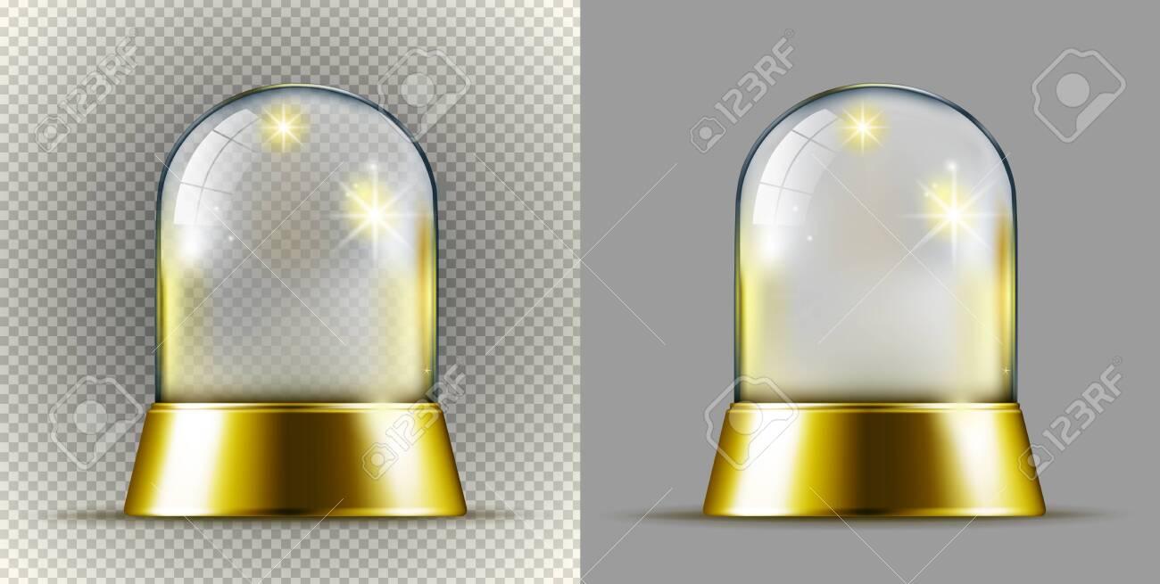 Realistic gold transarent snow ball. - 127959722