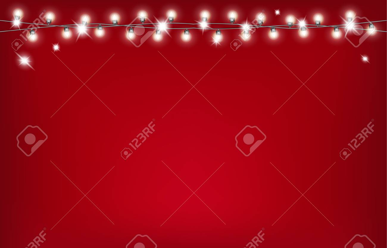 Christmas garland on red background. - 109876843