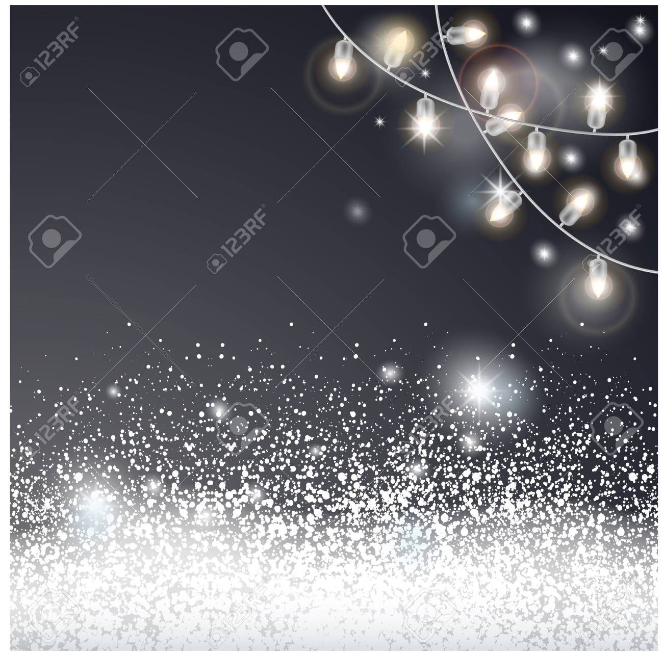 Christmas card with snow and electric garland. - 109876845