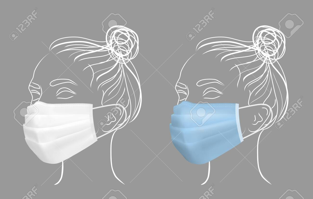Girl in protective medical face mask. Line drawing women face. - 145117810