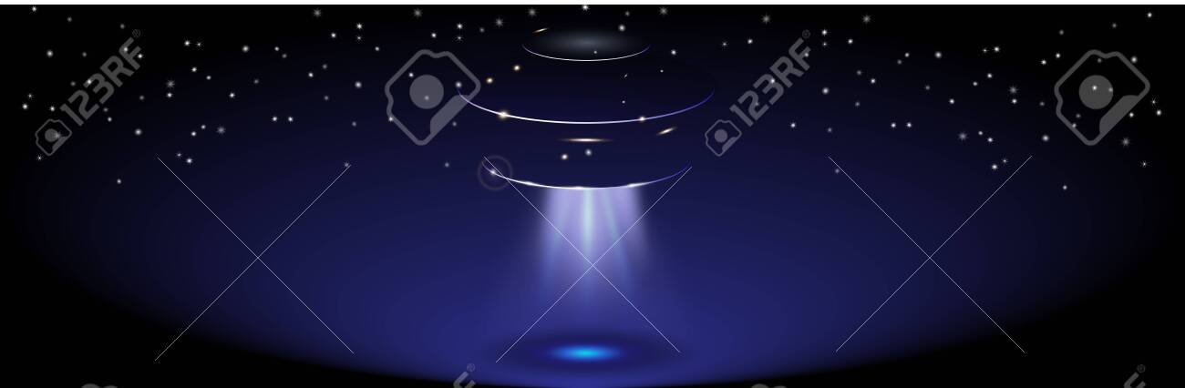 Unidentified flying object in the sky. Space ship with transparent blue ray - 145118075