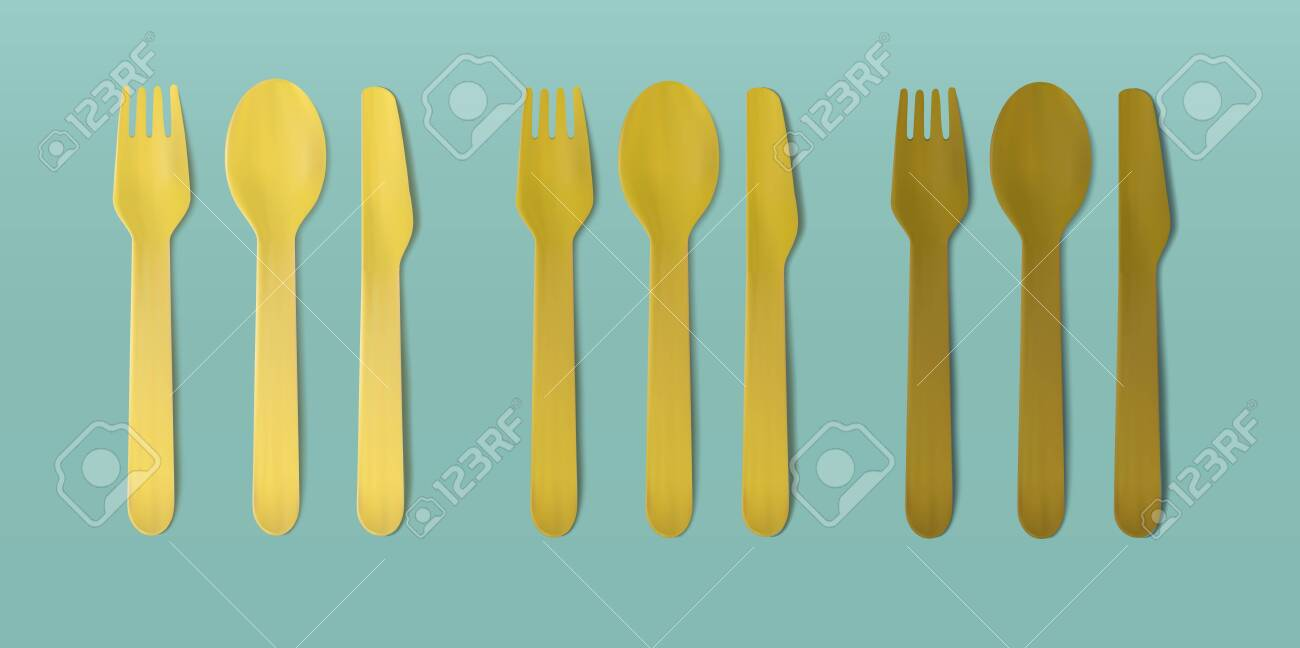 Disposable wooden cutlery. Vector fork, spoon and knife - 145109451