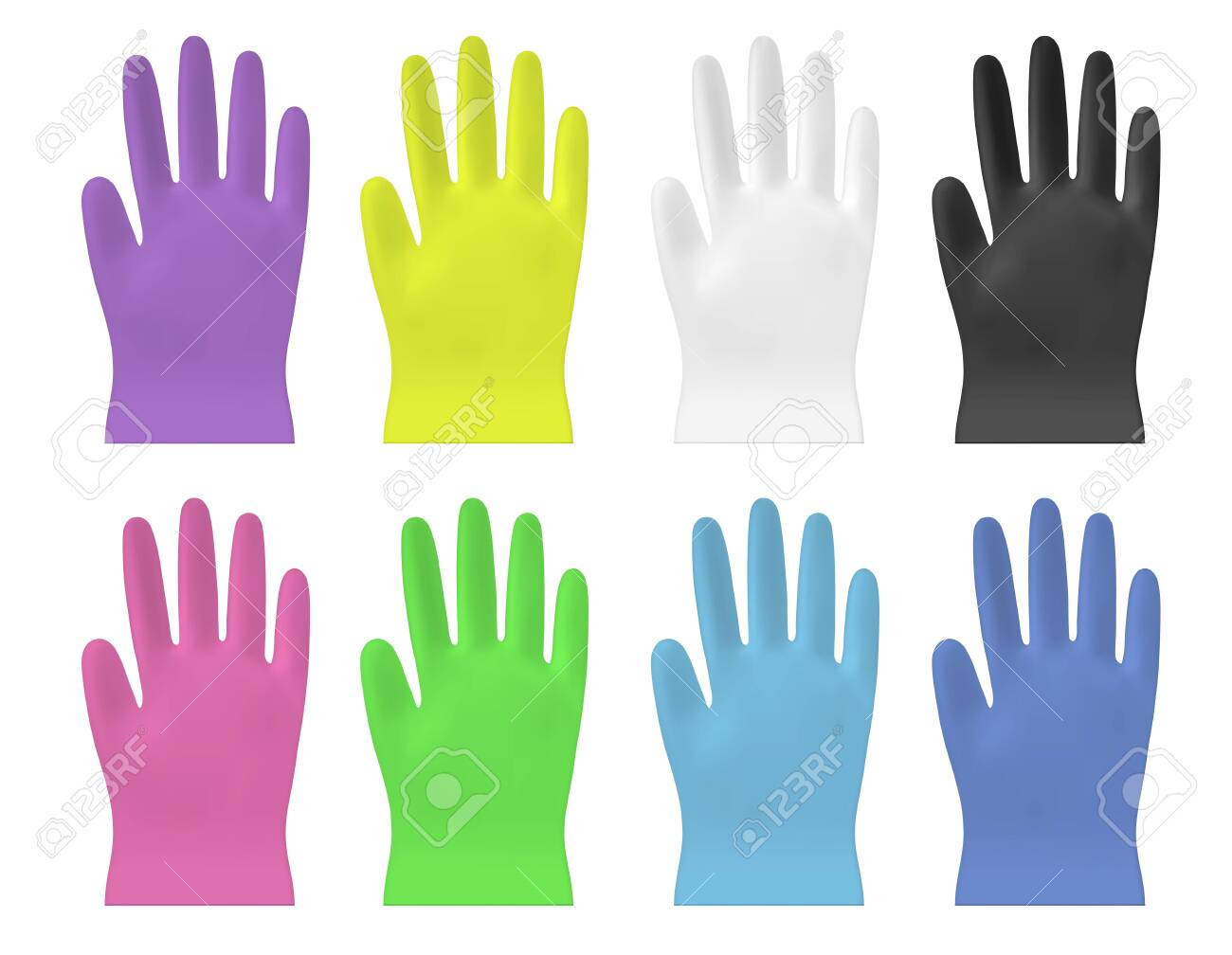 Disposable color vector plastic or nitrile gloves - 145117849