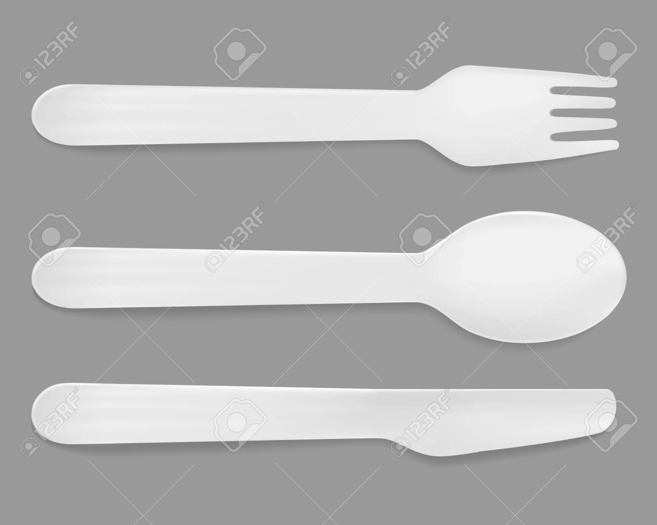 Disposable white plastic cutlery. Vector spoon, knife and fork. - 145109545